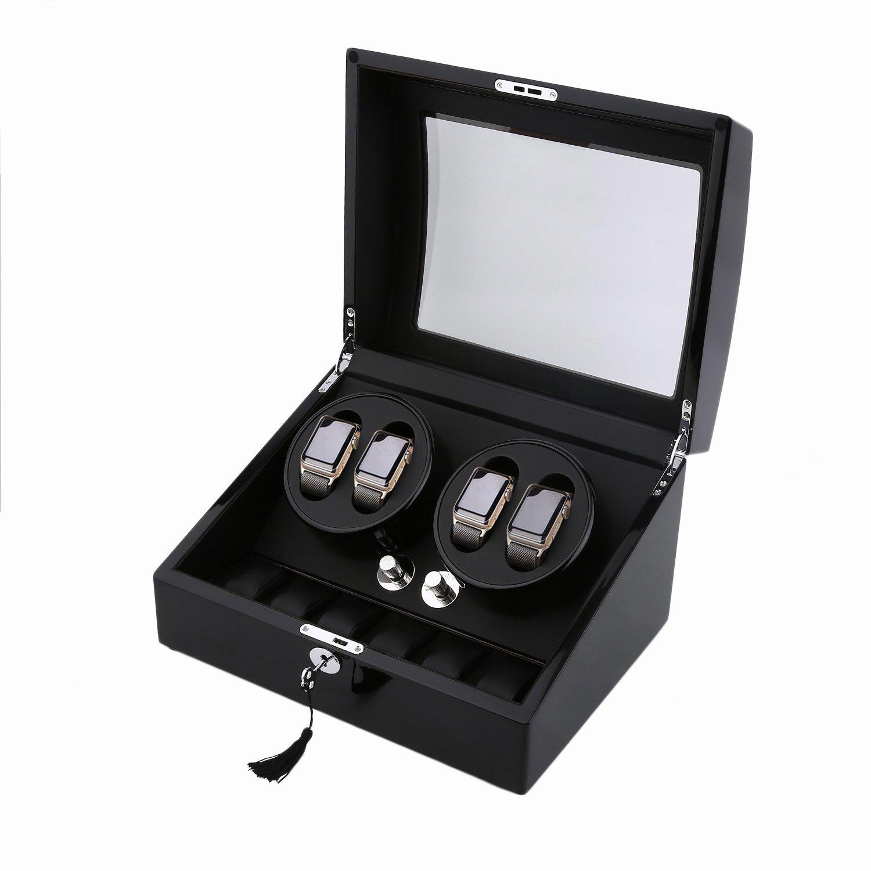 Water-chestnut Watch Winder,Automatic watchbox 10 Watch Winder Case Display Box (ALL BLACK 4+6)