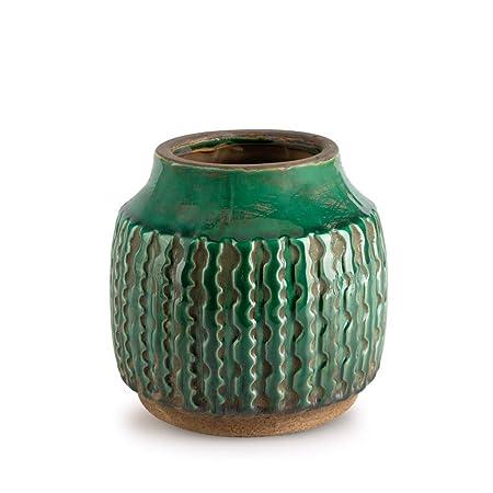 plus tard répliques acheter maintenant Black Velvet Studio Vase décoratif en céramique Couleur Vert - Modern  Vintage Vase pour Bureau Salle de réunion avec Gravure modèle Ethnique  Alpes 13 ...