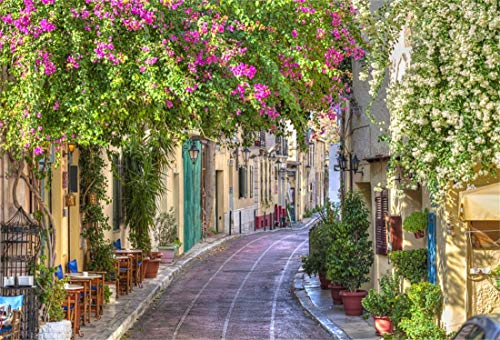 Yeele 7x5ft Vinyl Photography Background Spring Traditional Houses in Plaka Area Under Colorful Flower Beautiful Street Blurry Photo Backdrops Pictures Studio Props Wallpaper ()