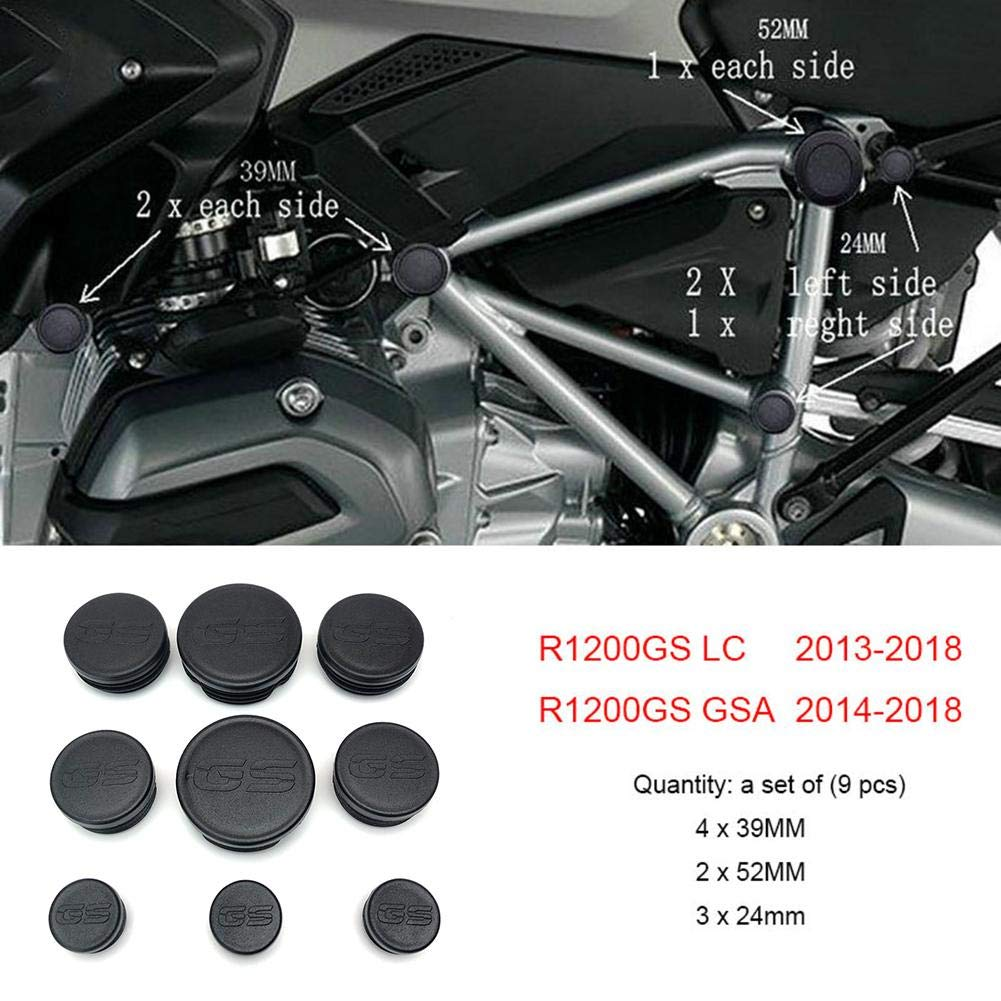 Decorative for BMW R1200GS R 1200 GS R1200 GS LC Adventure 2013 2014 2015 2016 2017 2018 Frame Cap Set Coaste 9PCS Motorcycle Frame Hole Cover Caps Plug