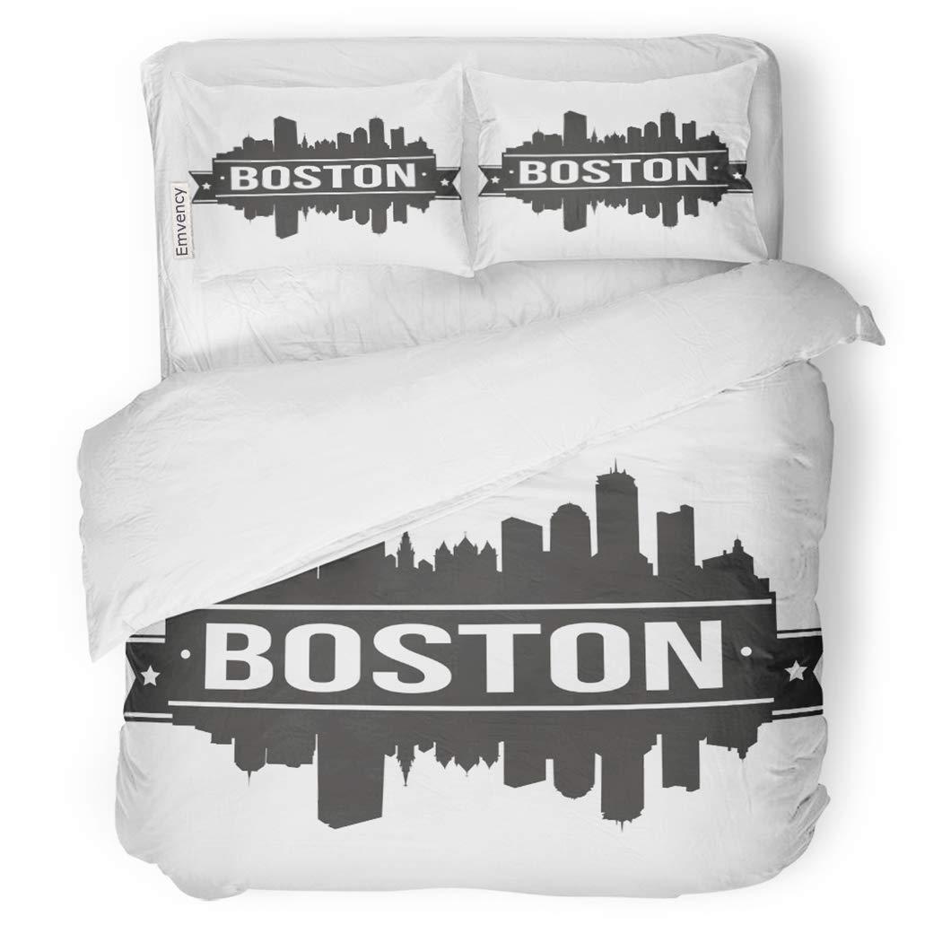 SanChic Duvet Cover Set Massachusetts Boston Skyline Silhouette America Architecture Decorative Bedding Set with 2 Pillow Shams King Size