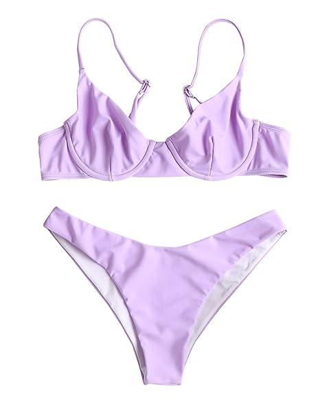 901665f783ca4 ZAFUL Women s Cami Strap High Cut Bikini Set Push Up Underwire Padded Two  Pieces Swimsuits Mauve
