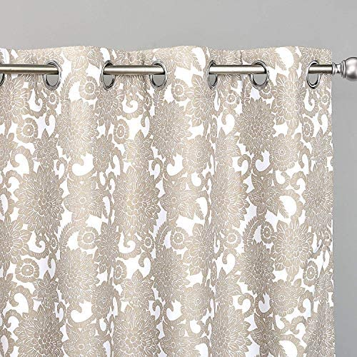 DriftAway Daisy Dahlia Blooming Flower Floral Blackout Room Darkening Thermal Insulated Grommet Lined Window Curtains 2 Panels 2 Layers Each 52 Inch by 84 Inch Beige