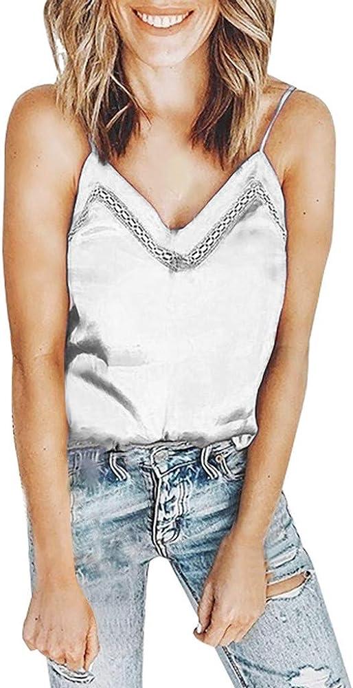 VEMOW Camisole Tops Camiseta sin Mangas con Cuello en V para Mujer Camisa Casual Sueltas Blusa(Blanco, S): Amazon.es: Ropa y accesorios