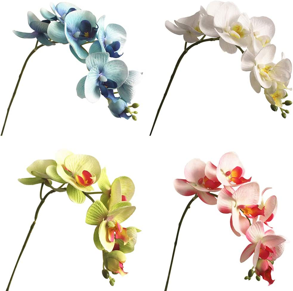 ypypiaol Centrotavola Artificiale Farfalla Orchidea Fiore Finto Decorazione della Festa Nuziale 1 Pezzo 7 Teste Blu