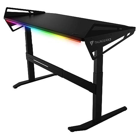 ThunderX3 AD7 Hex Mesa Gaming con iluminación RGB y Altura Ajustable, Negro, 128cm
