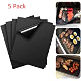 LANYHU 5Piece Non-stick BBQ Grill & Baking Mats-Perfect For Baking on Gas, Charcoal, Oven and Electric Grills - Reusable…