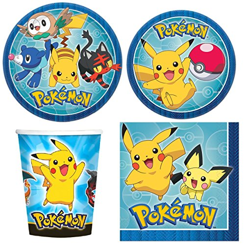 Pokemon Pikachu Value Pack Birthday Party for 8 guests ( Plates, Cups, Napkins)