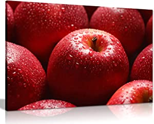 Red Apple with Water Drop Food Canvas Wall Art Picture Print (12x8)