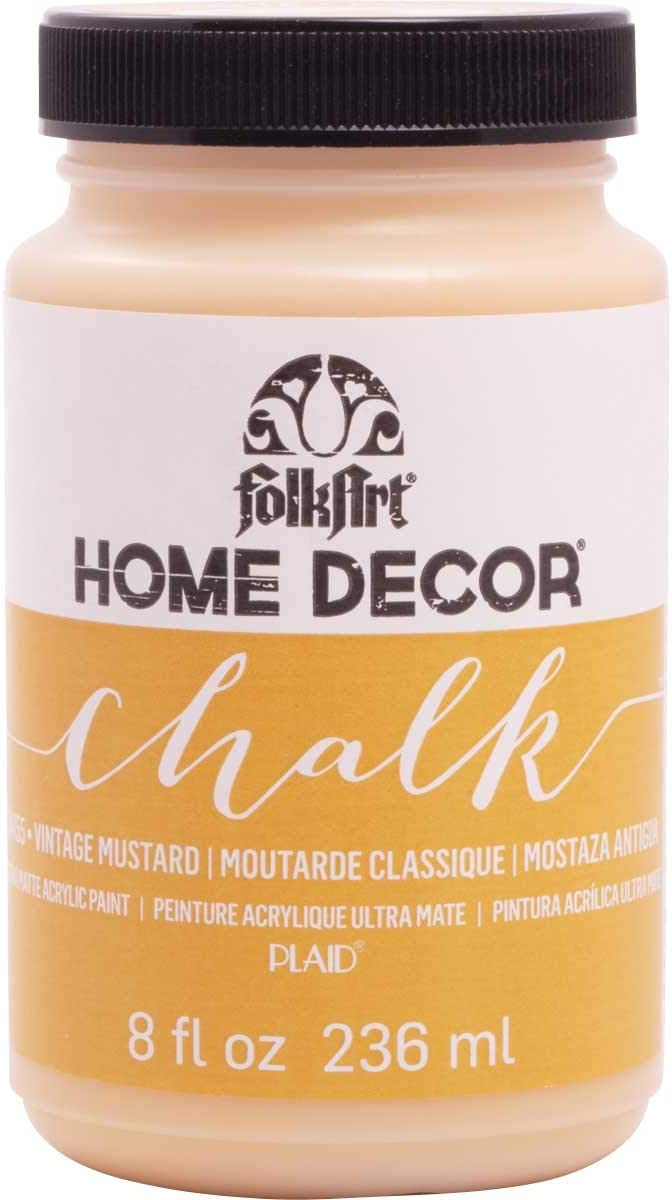FolkArt Home Decor Chalk Furniture & Craft Paint in Assorted Colors, 8 ounce, Vintage Mustard