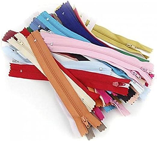 JRing Cremallera 50Pcs 8 Pulgadas de Cremallera de Nylon Cerrado Zip Zip Zippers Multicolor Cremallera Para Ropa de Costura