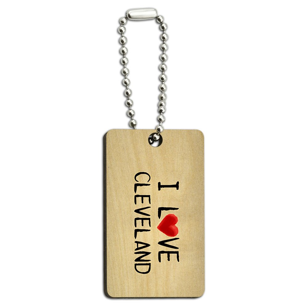 I Love Cleveland Written on Paper Wood Wooden Rectangle Key Chain