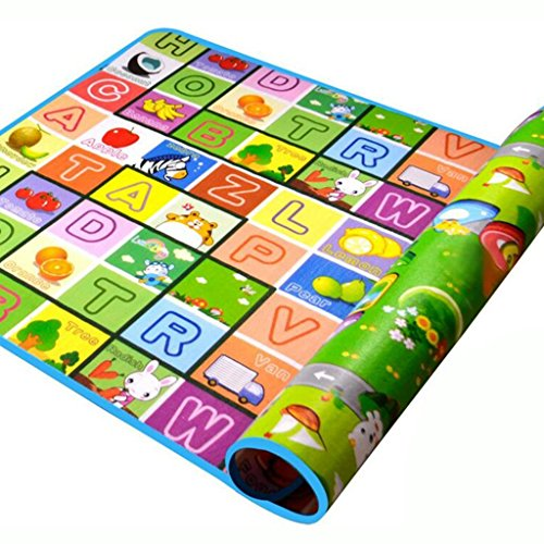 SimpVale Double-sided Foam Waterproof Baby Crawling Thickening Mat Drawing Alphabet Figures Animals Pattern 71''X47''X0.2'' (Sided Double Baby Mat)