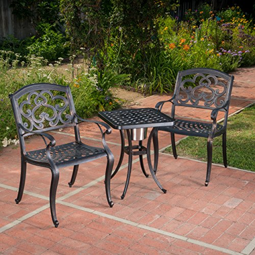 Christopher Knight Home Ariel 3 Piece Cast Aluminum Outdoor Bistro Set with Ice Bucket Perfect for Patio in Shiny Copper