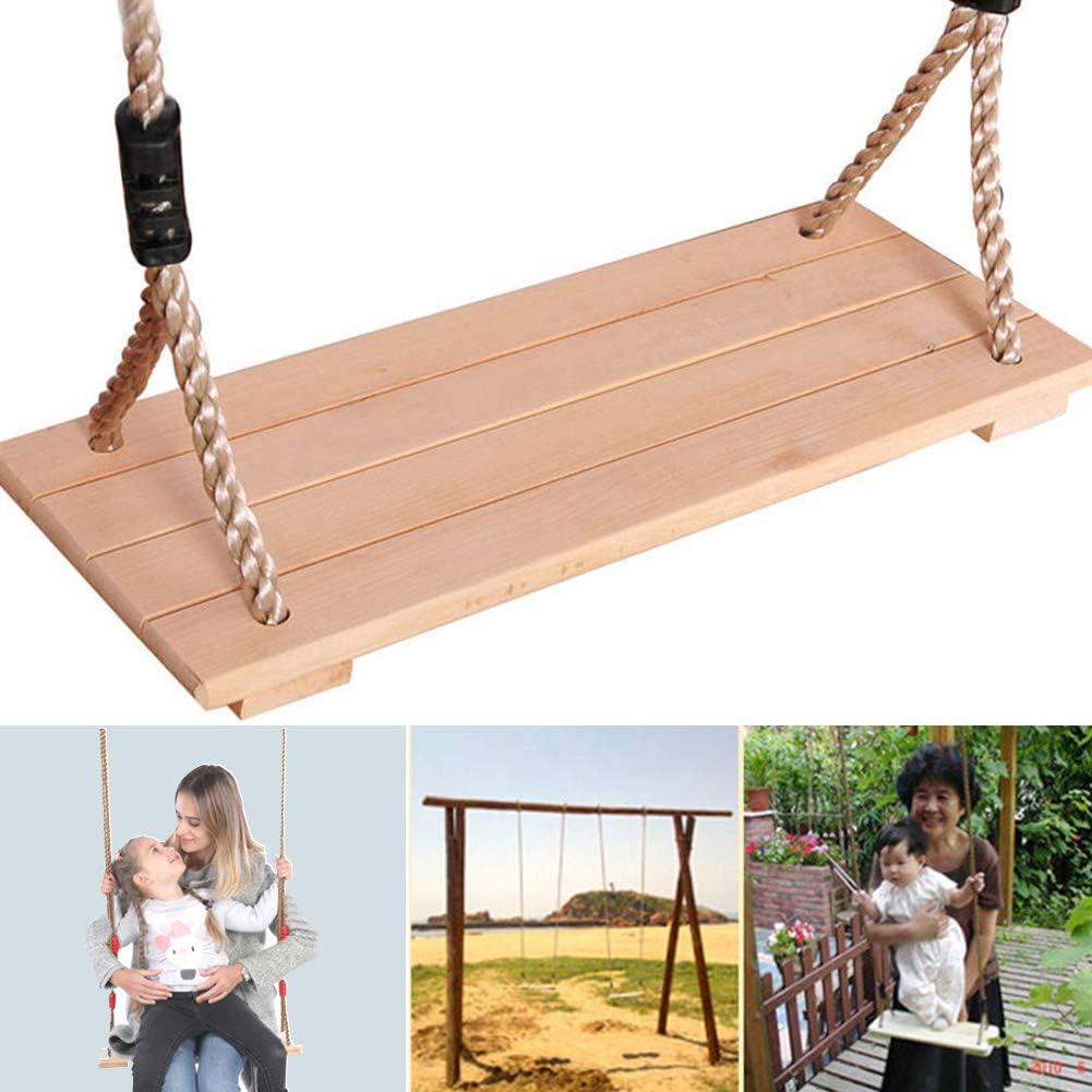 Dondolo a dondolo in legno spesso da appendere con corda regolabile per adulti e bambini