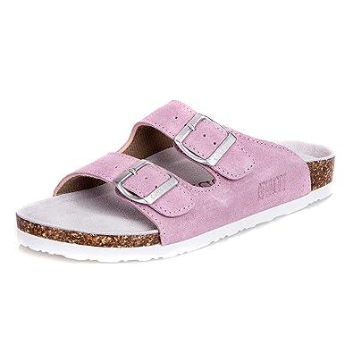 0ece061fc6b7 Asifn Women s Sandal Cork Sandals Slide Flat Strap Buckle Girl Leather  Footbed Adjustable Casual Double Toe Shoes Summer Open Platform Suede Flip  Slides