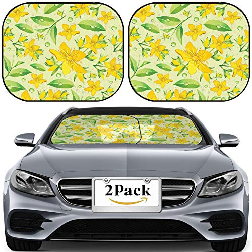MSD Car Sun Shade for Windshield Universal Fit 2 Pack Sunshade, Block Sun Glare, UV and Heat, Protect Car Interior, Elegance Seamless Beige and Hypericum with Green Tea Image ID 11289025