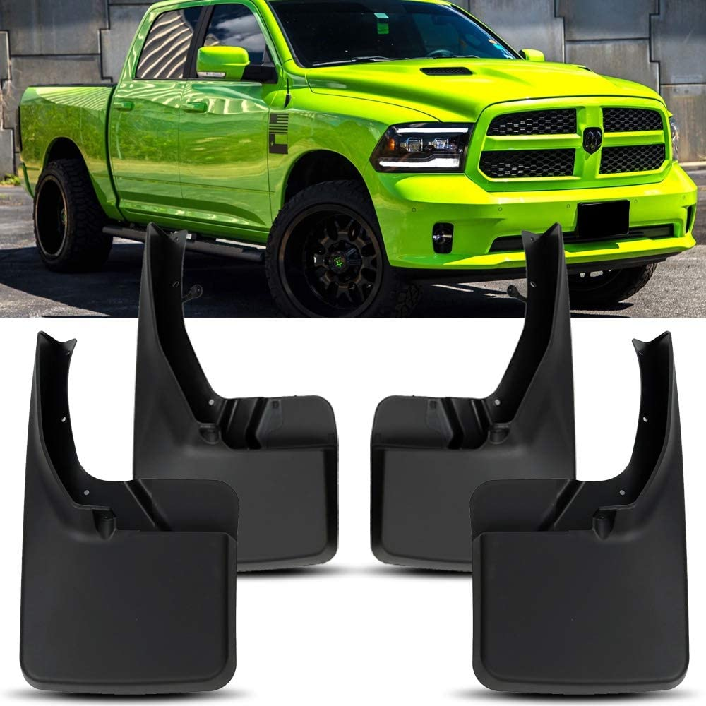 HYZZ Front /& Rear Mud Flap MudFlaps Splash Guards for 2009 2010 2011 2012 2013 2014 2015 2016 2017 2018 Dodge Ram 1500 2500 3500 Without Fender Flares 4PACK