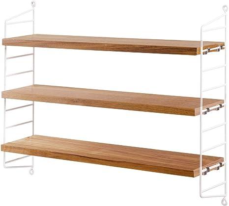 String Pocket - Estantería de madera de roble, color blanco