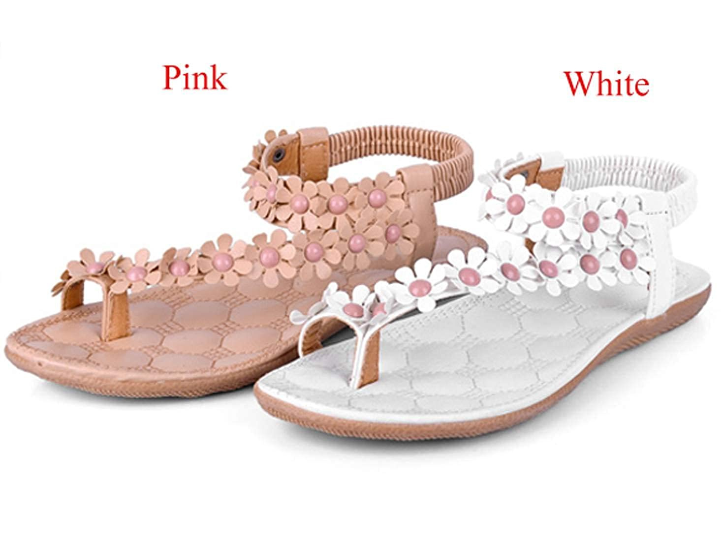 504d9134c2cd Zeagoo Women Bohemia Flower Beads Flip-flop Shoes Flat Sandals - White -   Amazon.co.uk  Clothing