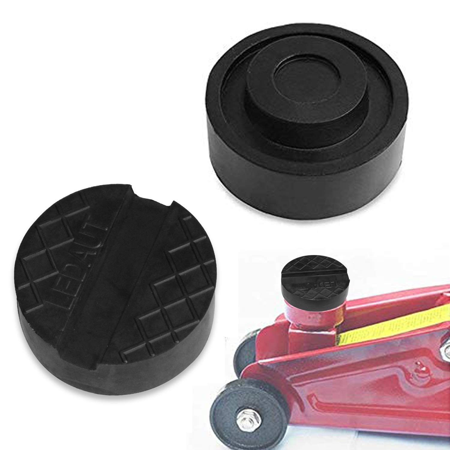 Robust Rubber Jack Pads 2 Pcs – ZHUBANG Black Rubber Pads with Grooves Universal Slotted Jack Pad Block for Protect Trolley Vehicle 65mm X 25mm Black