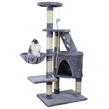 KExing Árbol de Gato Rascador Árbol Trepador Sisal Felpa con Hamaca y Cuerda Medio Altura 120 cm Gris: Amazon.es: Productos para mascotas