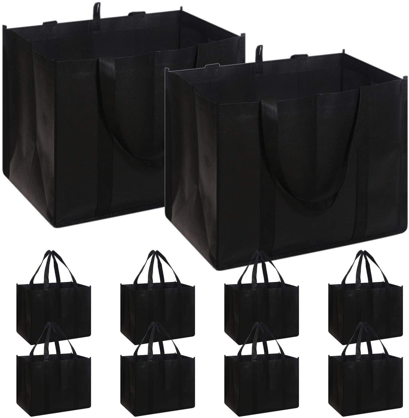 Set of 10 Reusable Grocery Bags Extra Large Super Strong Heavy Duty Shopping Tote Bags with Reinforced Handles, Black