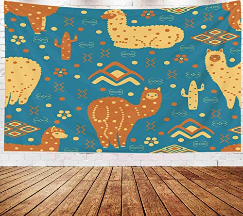 Mountain Wool Knitting Yarn - Yecationy Space Tapestry, Tapestry Psychedelic Tapestry 80x60 Inch Alpaca Peru Pattern Style Mountains Cacti Flowers Ornament Wool Yarn Tapestry Wall Hanging Living Room Decoration Tapestries
