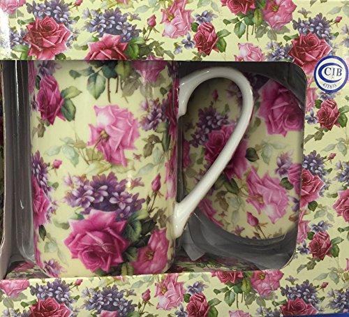 Kent Pottery - Kent Pottery 2PC Mug With Matching Lid - Pink Rose