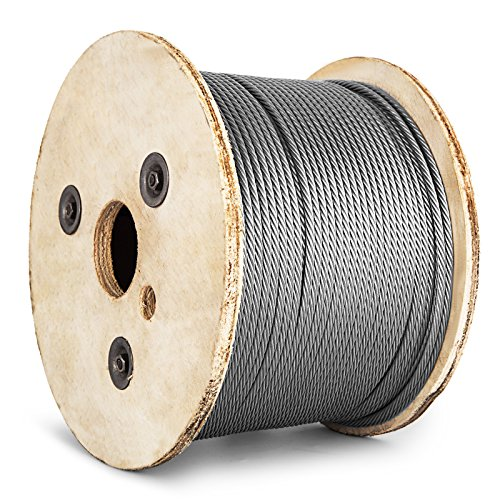 BestEquip Stainless Steel Cable 7 x 19 Aircraft Steel Cable Wire Rope SUS304 Winch Rope 3/16In 500FT for Railing Decking DIY Balustrade(3/16In 500FT) ()