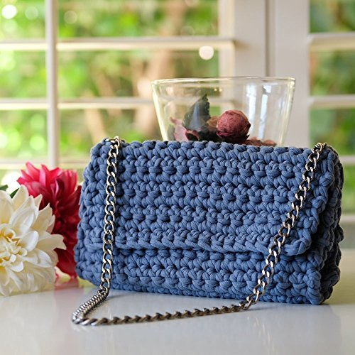 Handmade Blue Denim Crochet Clutch ()