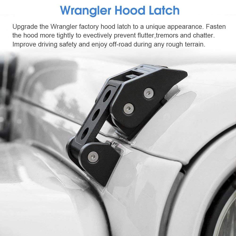 SIZZLEAUTO 2PCS Black Stainless Steel Hood Latches Locking Catch Buckle Kit for 2007-2018 Jeep Wrangler JK JKU