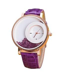 Orayan Women Synthetic Leather Round Purple Analogue Wrist Watch