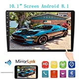10.1Inch 2.5D HD Double Din Car Stereo Radio Receiver, Android 8.1 Touch Screen MP5 Multimedia, Support GPS Navigation Bluetooth FM Radio+4 Led Lights Rear View Camera&Dual Mirror Link&Sub-woofer