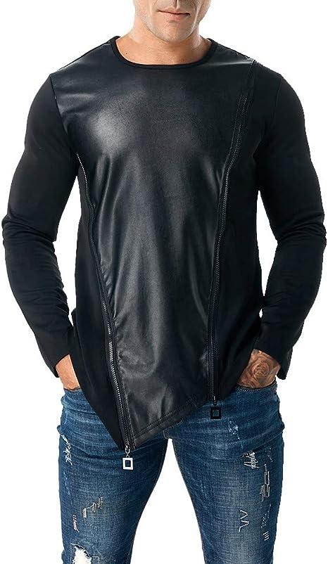 QinMM_Hommes Hombres Tops de Manga Larga Camisa, qinmm Sudadera Cosplay Disfraz Otoño Invierno Camiseta Blouses Pull Mode Ciudad Dobladillo asimétrico Dos Cremalleras Piel, Mujer, Negro, XX-Large: Amazon.es: Deportes y aire libre