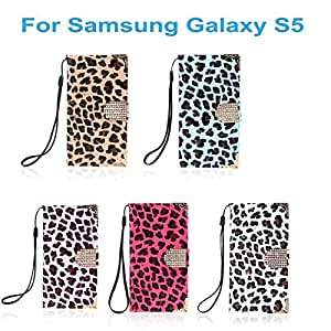 High Quality Fashion Wallet Beautiful Leopard Case Flip PU Leather Cover with Card Holder Strap for Samsung Galaxy S5 i9600 --- Color:Rose