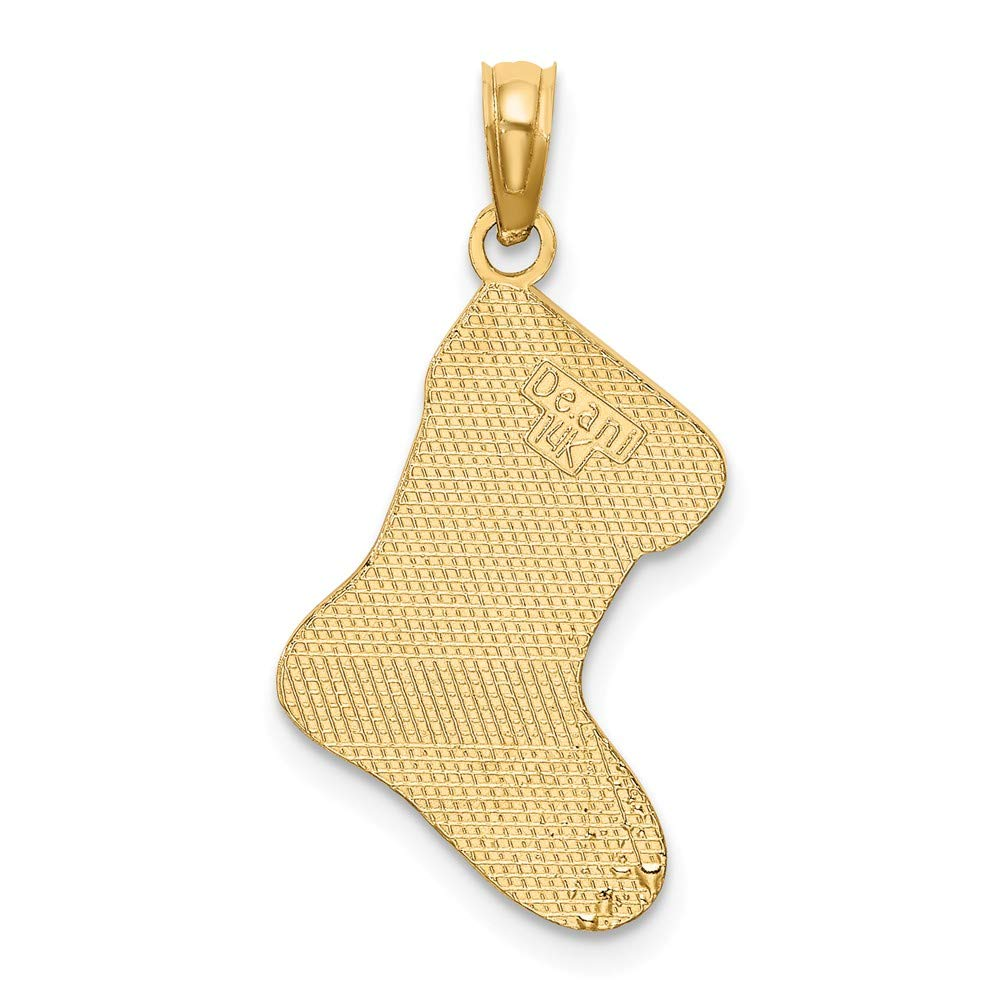 14k Yellow Gold 2-D /& Enamel HO HO HO Christmas Stocking Charm