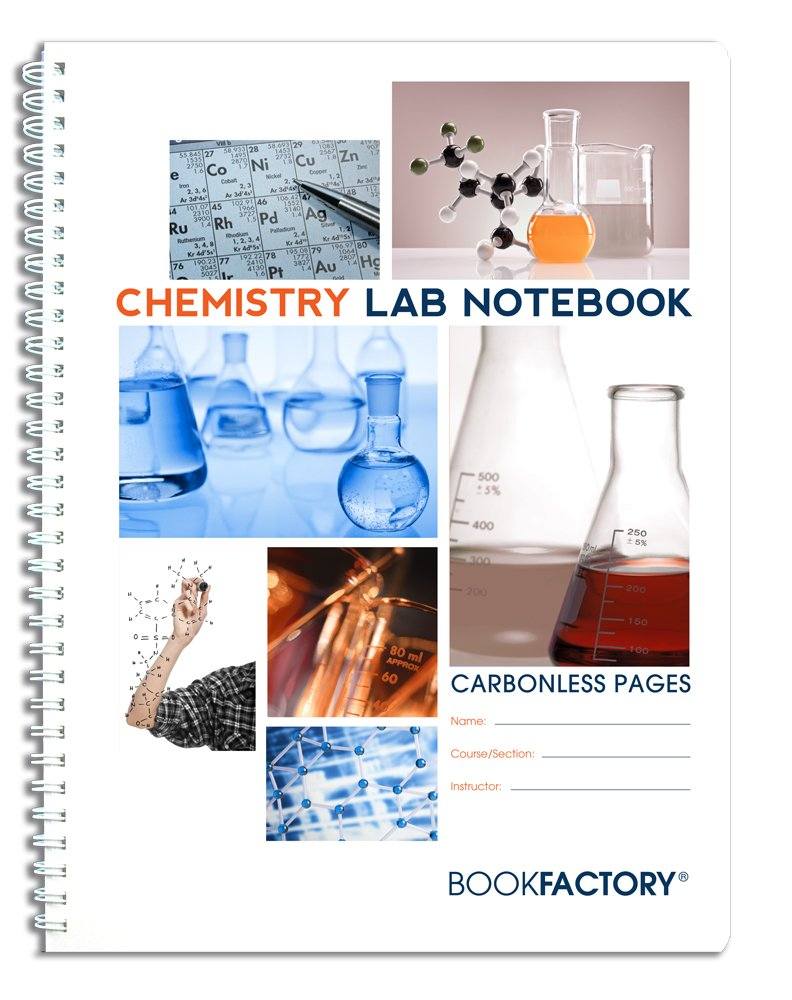 BookFactory Carbonless Chemistry Lab Notebook - 75 Sets of Pages (8.5'' X 11'') (Duplicator) - Scientific Grid Pages, Durable Translucent Cover, Wire-O Binding (LAB-075-7GW-D (Chemistry))
