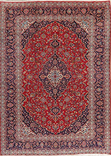 Persian Kashan Antique Area Rug Wool Hand-Knotted Oriental Floral Carpet 10X13 Red