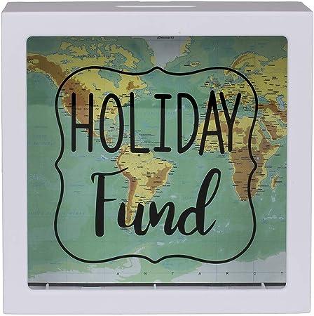 OOTB Hucha Blanca de Plástico, Holiday Fund, Diseño Mapa del Mundo, 15 cm: Amazon.es: Hogar
