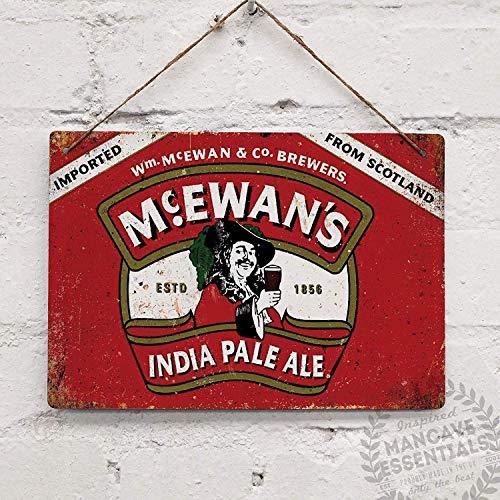 Beer Scottish (QFDH McEwans Vintage Scottish Beer Tin Sign Metal Sign TIN Sign 7.8X11.8 INCH)