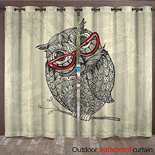 - RenteriaDecor Outdoor Balcony Privacy Curtain Doodle Style owl in red Eyeglasses W96 x L108