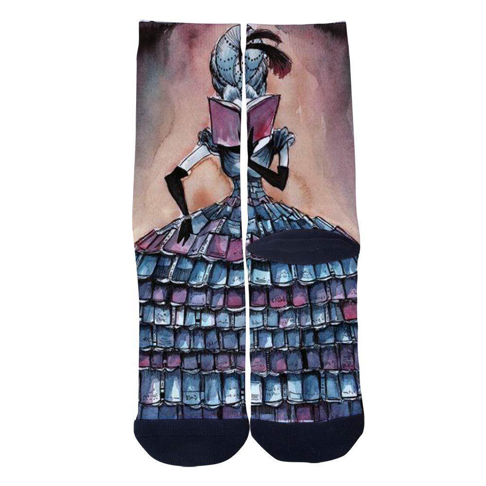 TheFun-Z Custom Books Princess Art Socks Novelty Funny Cartoon Crew Socks Elite Casual Socks