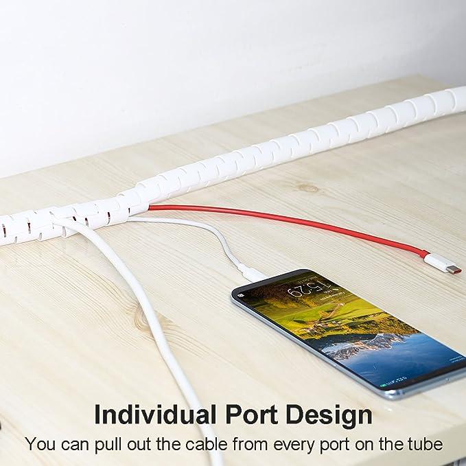 iMangoo Tubo flexible para cables, 25 mm x 1,5 m, organizador de cables, funda organizadora, sistema de protección para TV, ordenador, cine en casa ...