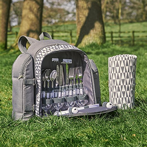 VonShef 4 Person Outdoor Picnic Backpack Bag Set with Blanket Includes 29 Piece Dining Set Insulated Cooler Compartment to Keep Food Chilled for Longer – Gray