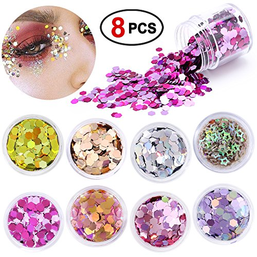 Nails Eyes Face Lips (Konsait Chunky Cosmetic Glitter Shimmer Holographic Body Glitter Powder Sequins Hexagon Paillettes Flaky Decoration for Festival Rave Costume Face Body Nail Hair Eyes Lips Unicorn mermaid Makeup(8pcs))