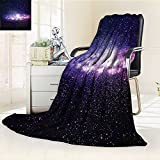 YOYI-HOME Duplex Printed Blanket Comfort Warmth SoftCloud in Milky Way Infinity in Interstellar Solar Explosion Design Purple Dark Blue Anti-Static,2 Ply Thick,Hypoallergenic/W47 x H79