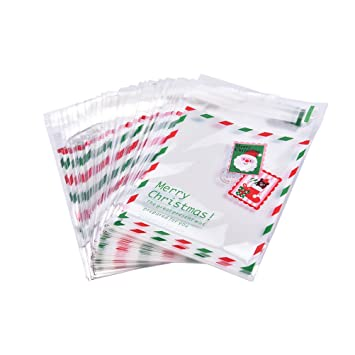 Christmas Cellophane Bags.Snnplapla 100 Pack Christmas Cellophane Bags Candy Bags Self Adhesive Xmas Sweet Cookie Package Gift Bags For Christmas Party Favors White