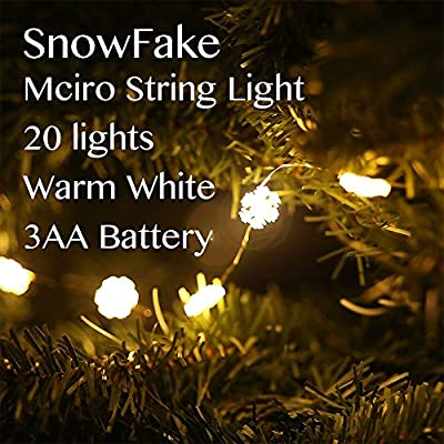 LIDORE® Micro LED 20 Glitter Xmas Tree Lights. Warn White. 3aa Battery Operated. 4.8ft Long Silver Coating Ultra Thin String Wire.