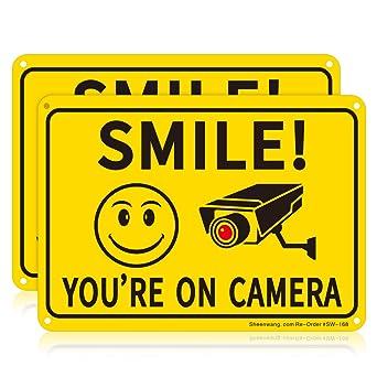 Camera Car Sign Car Security Sign Smile You/'re On CCTV Car Sign Dash Cam Sign